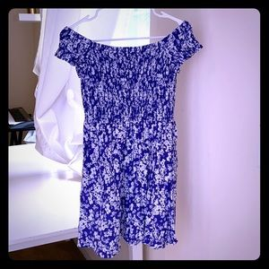 Blue and white flowered off the shoulder dress